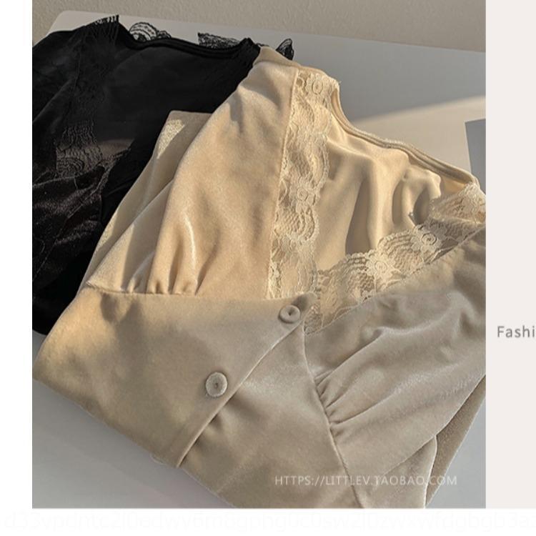interior de la largo manga de la camisa 2020 camisa temprana nuevo estilo wBymF Kong encima de terciopelo floja del cordón del estilo occidental UjG9v Hong de Mujeres
