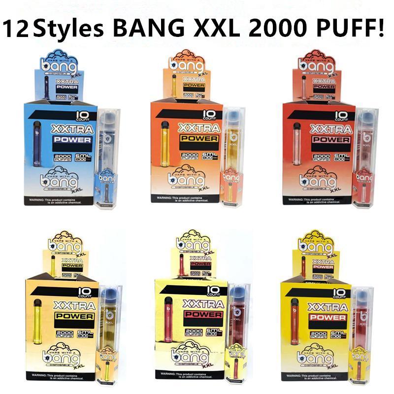 Bang XXL monouso Vape Pen dispositivo 800mAh Batteria 6 ml baccelli vuoti vapori 2000 Sbuffi Bang XXtra Kit VS Bang XL xtra