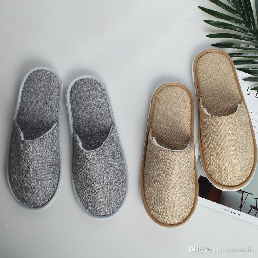 Comfortable Breathable Soft Disposable Slippers Home Guest Shoes Yellow Grey Hotel SPA Anti-slip Cotton Linen Disposable Slippers TQQ BH0607