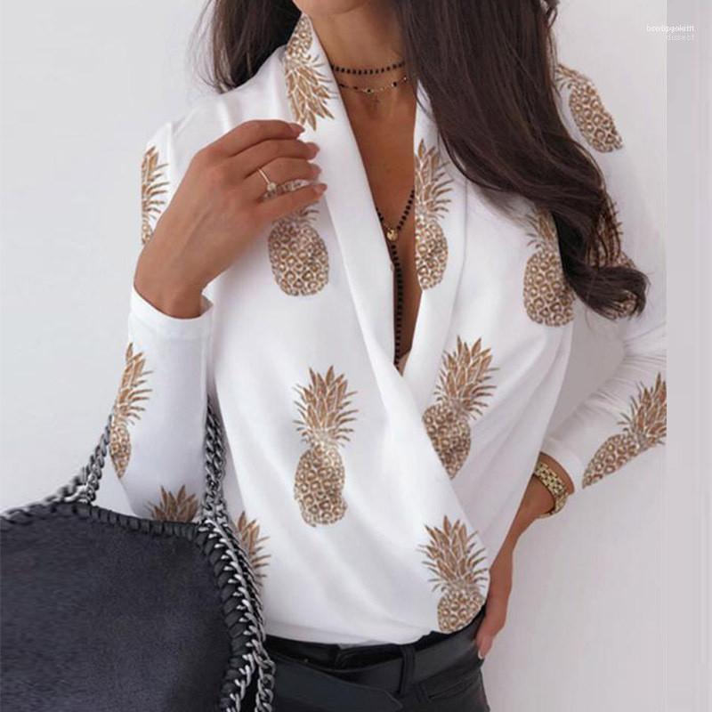 С длинным рукавом V образным вырезом рубашки Мода женские рубашки Письмо Printed Женские дизайнерские рубашки вскользь Street Сыпучие