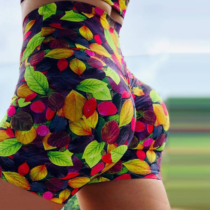 0z3bf kqx2y Hot printed sexy INS super sports hip pants leaf sale yoga and hot shorts shorts