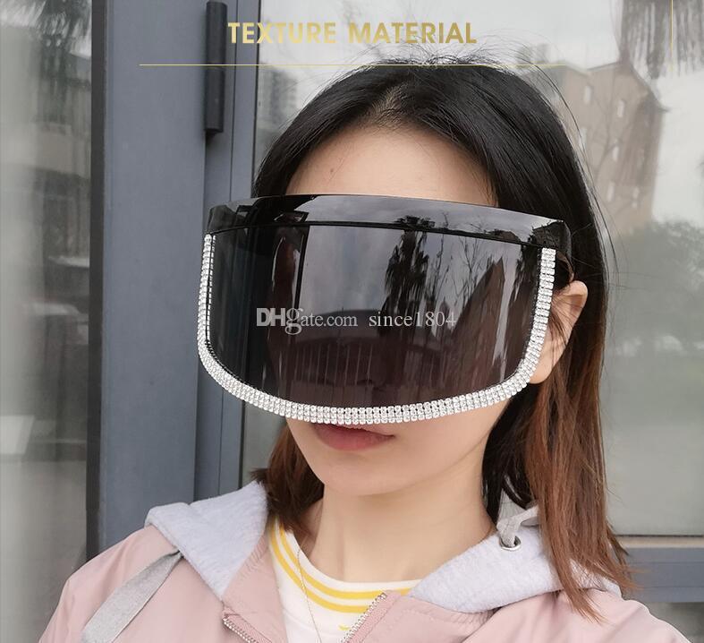 новая цельное лицо покрывающей личность ветрозащитных солнцезащитных очков большой маска для лица Солнцезащитных очков личности бриллиантов очков