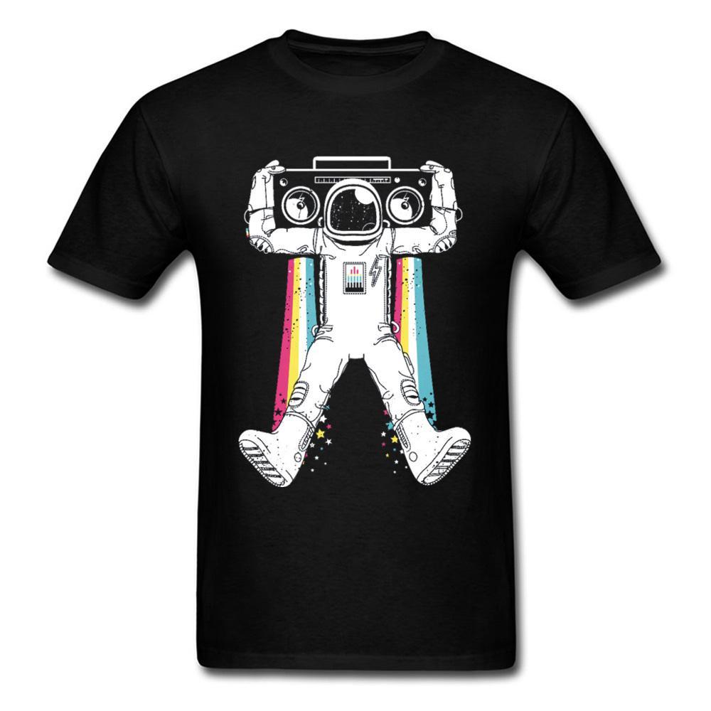 Sistema de sonido de Astro Top camisetas para los hombres todo el algodón camisetas de verano / otoño T Shirts caja B Hip Hop astronauta camiseta del arco iris de Calle