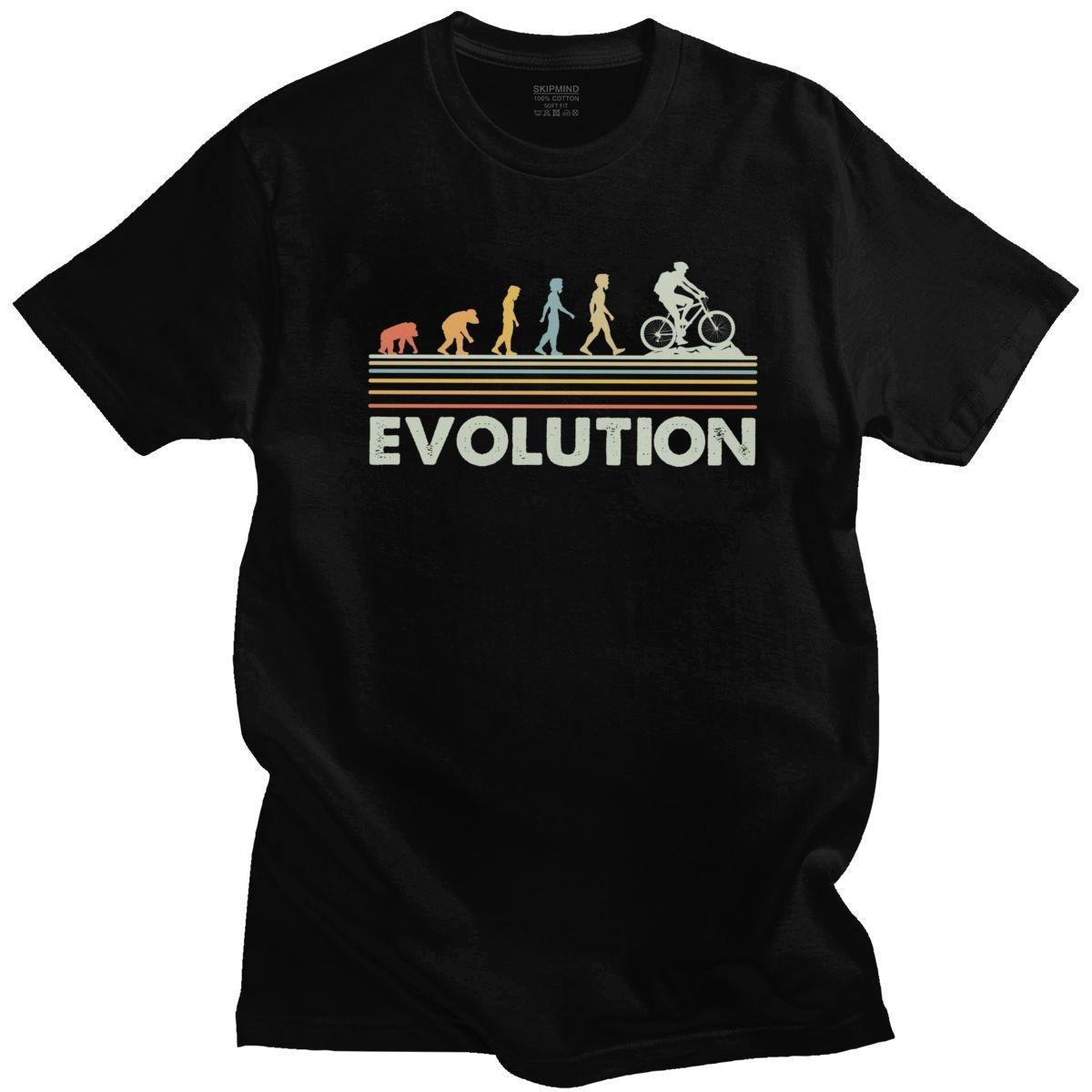 Funny Mountain Bike Evolution T Shirt Men Cotton Handsome T-Shirt Short Sleeved MTB Biker Cyclist Tee Top Fitted Clothing Merch