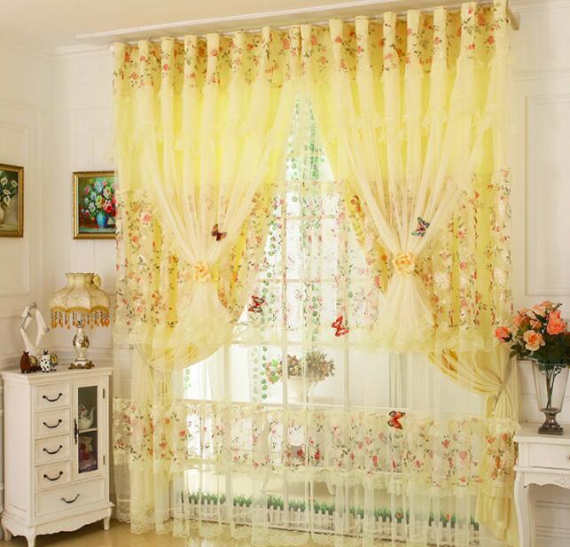 Cortina púrpura rosado amarillo moderno de la manera del cordón del dormitorio cortinas de la ventana Cortina de estar Sala