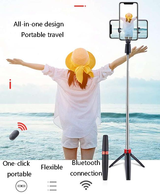 All-in-One Bluetooth Selfie vara com tripé plástico liga selfie selfie selfie telefone smartphone selfie-stick preto cores