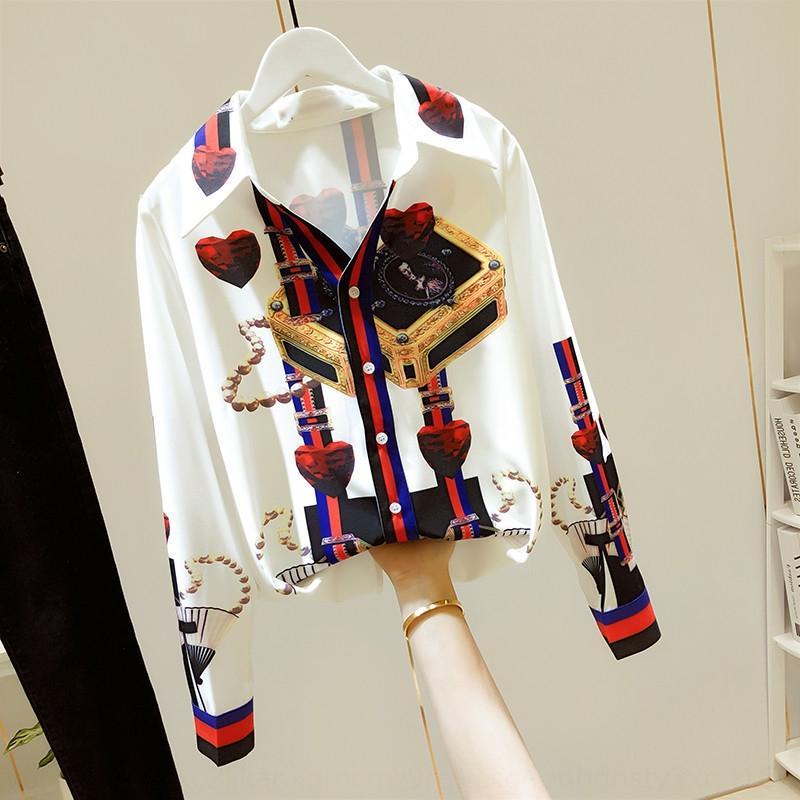 4EyC7 cuuF4 neues 2020 Französisch Nische im westlichen Stil Schlankheits Design V-Ausschnitt Shirt Hemd Top Frauen Langarm-Shirt
