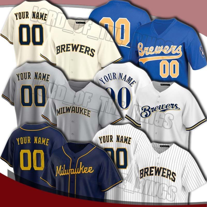 Custom Brewer 22 Christian Yelich Jersey Robin Youtt Jerseys Ryan Braun Jersey Lorenzo Smoak Brandon Woodruff 2020 Baseball Trikots