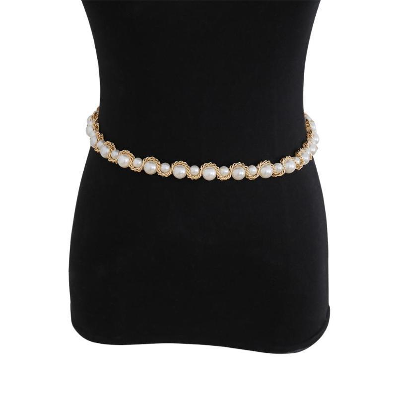 geometría temperamento de una sola capa versátil creativo cintura cadena clip de la perla de imitación hecho a mano cadena cuerpo