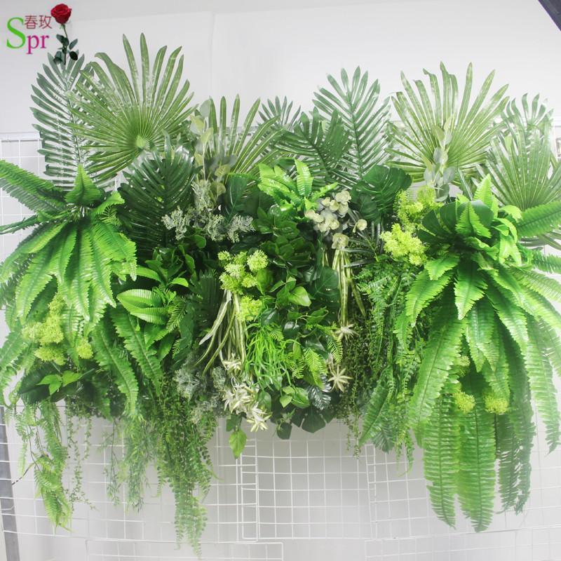 Livraison gratuite feuillage SPR mur fleur verte (uniquement matériel) toile de fond de mariage de la ligne de fleur artificielle arc décoratif flore