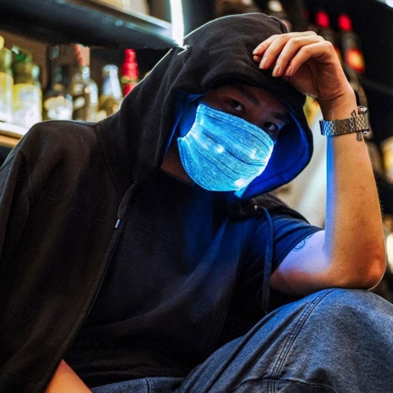 Бесплатная доставка Красочный светящийся LED маски USB зарядка ночной бар маска партии РМ2,5 защитная маска F0803