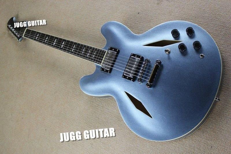 Buracos Personalizado Dave Grohl GuitarDG335 metálica azul da guitarra elétrica Guitarra Jazz Estilo do diamante oco corpo dividido Diamante Inlay DVgj #