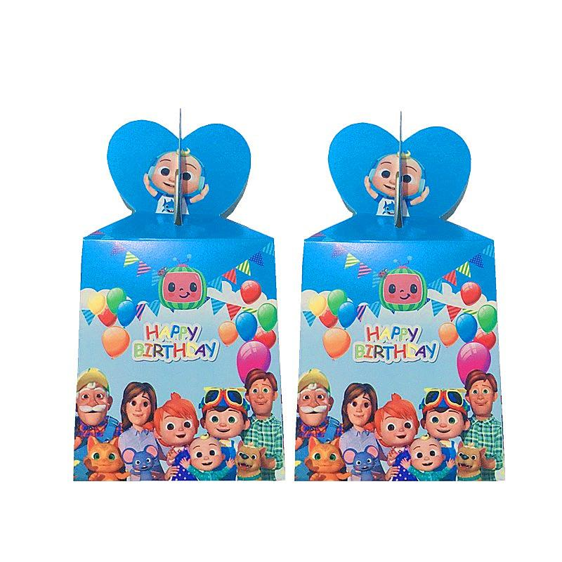 6pcs Cocomelon Paper Candy Box Cartoon Happy Birthday Decoration Theme Party Supply For Kids Baby Shower Party Supplies