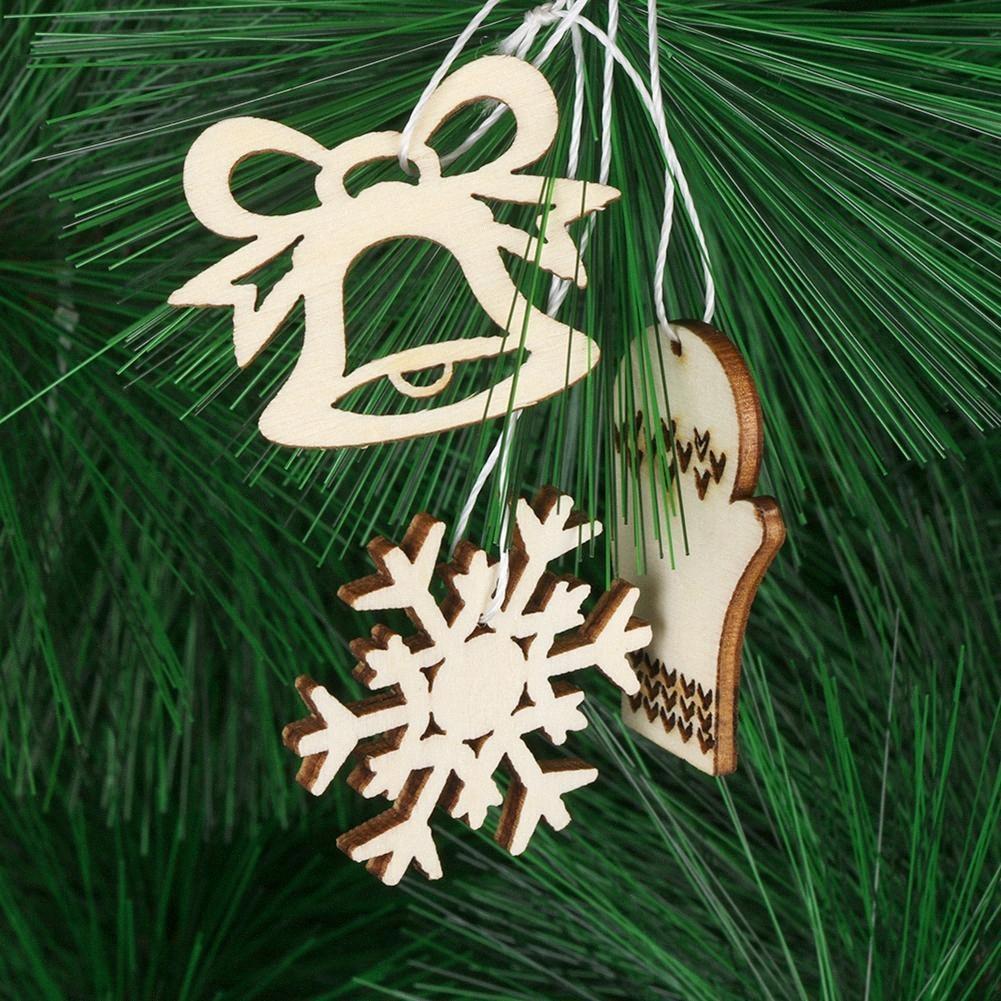 50Pcs suspendu en bois flocon de neige Arbre de Bell Pendentif Enfants de canne creux de Noël Décoration Ornement oEuk #