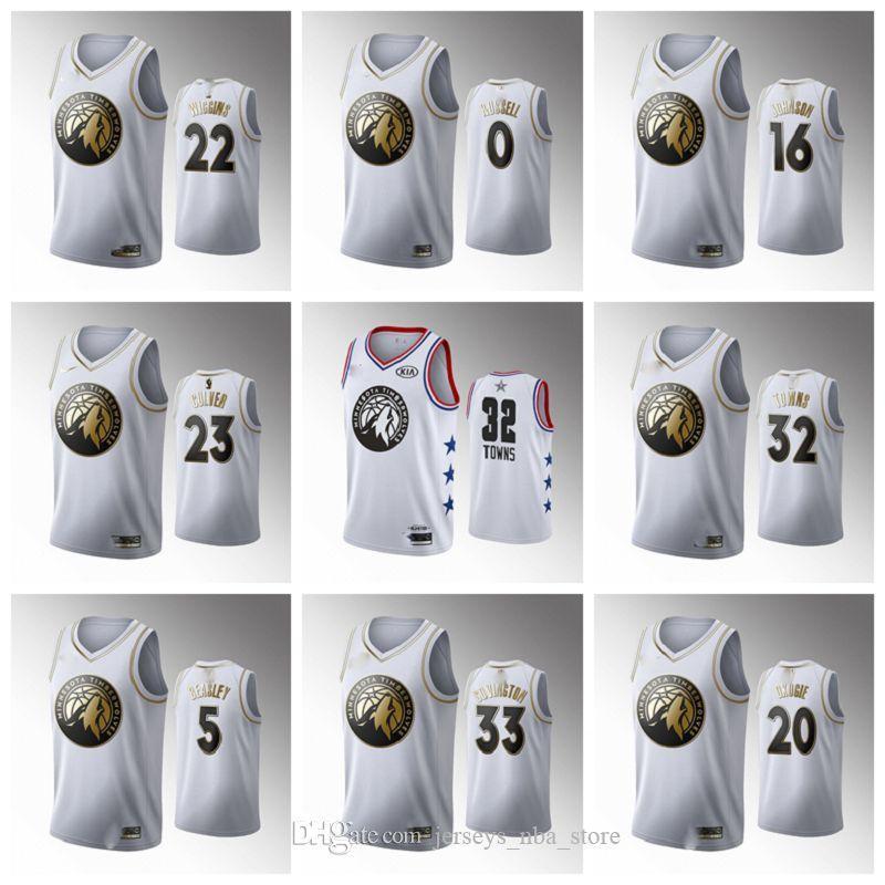 MinnesotaTimberwolvesUomini D'Angelo Russell White pallacanestro Jersey Malik Beasley Città Jarrett Culver Jake Layman Covington