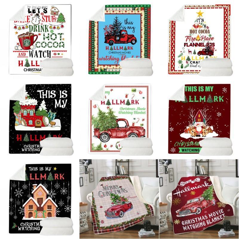المرجان الصوف عيد الميلاد لحاف 130 * 150CM عيد الميلاد الطباعة التصميم الرقمي بطانية طبقة عيد ميلاد سعيد واحدة لحاف غطاء صوفا