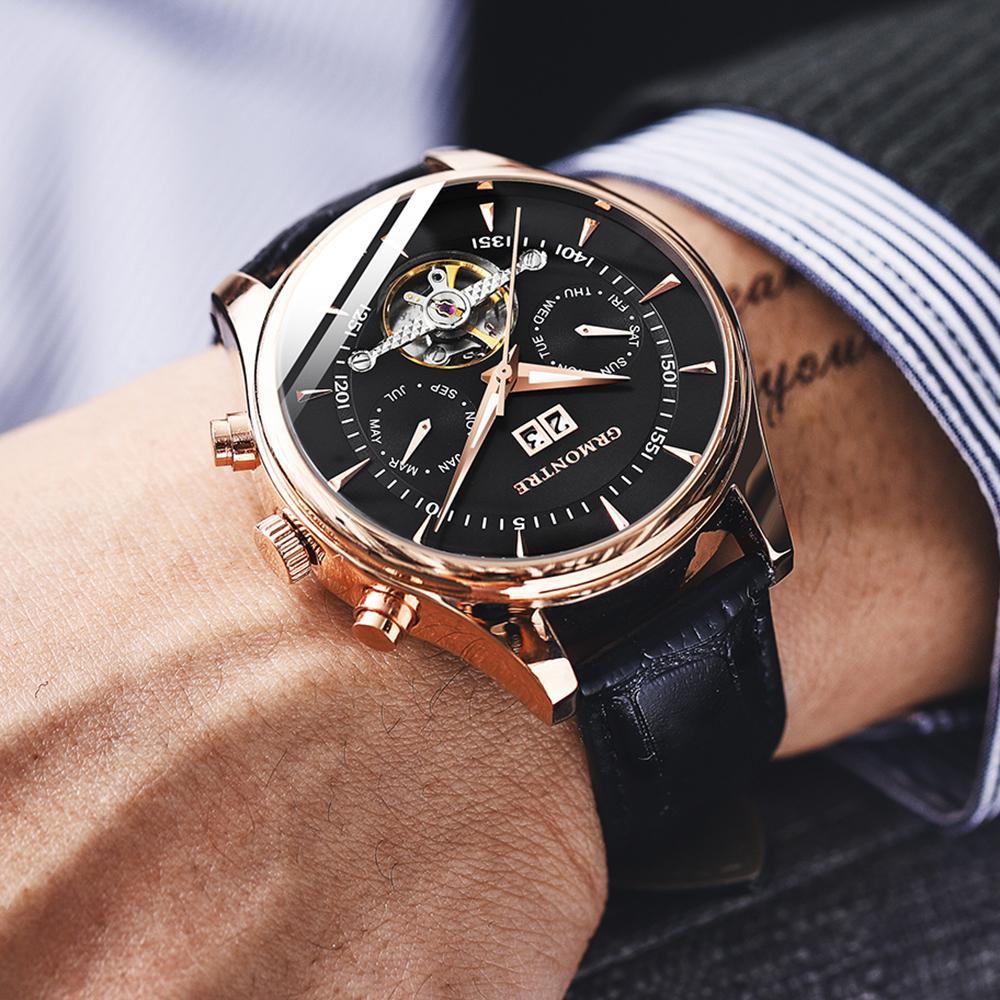 Di cuoio di scheletro di Tourbillon Vigilanza meccanica degli uomini automatici classici in oro rosa orologi meccanici Reloj Hombre T200812 lusso