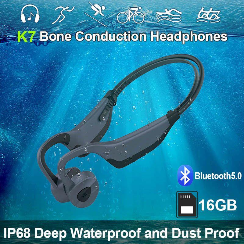 K7 Impermeabile Player mp3 nuoto senza fili Auricolari Bluetooth Sport Cuffia auricolare Bone Conduzione Cuffie da corsa Auricolari da immersione con microfono