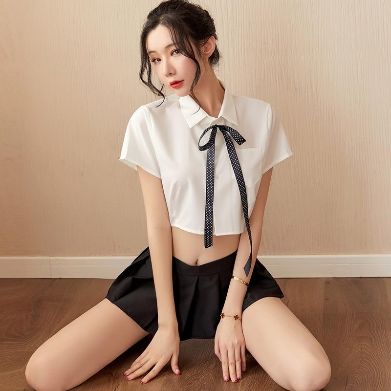 prIbq Pinxian jupe OL sexy costume sexy tentation sous-vêtements femmes courte uniforme chemise blanche Sous-vêtements jeu de rôle chemise blanche