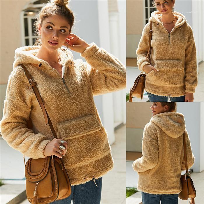 Tenere al caldo Pullover felpe con cappuccio Pocket Famale Abbigliamento donna lana con cappuccio Primavera Autunno a maniche lunghe