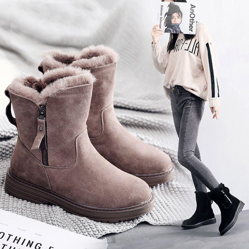 2020 зима новый корейской версии плюс бархат теплый снег сапоги женские короткие трубки хлопок сапоги кисточкой молния Мартин сапоги хлопка обуви