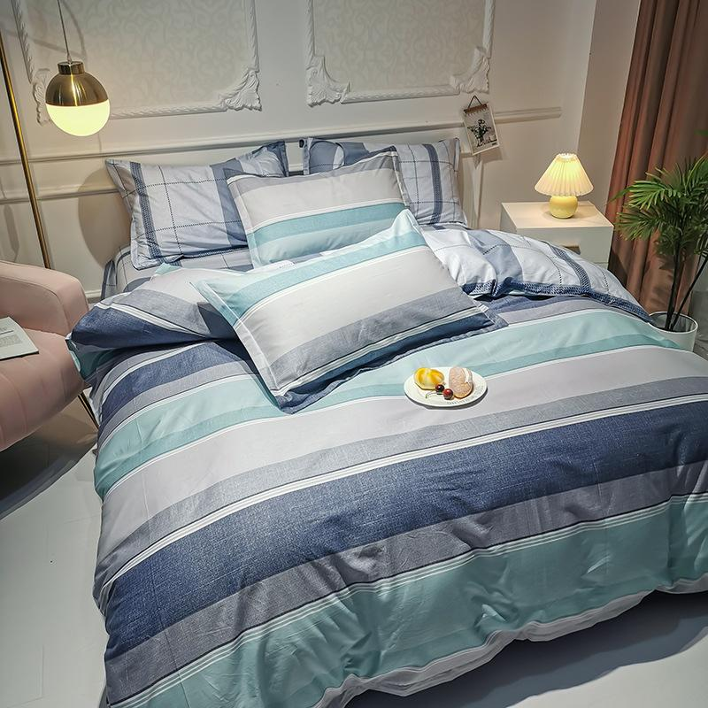 100% Cutton Cartoon Colorful Dots Grid Stripe Series Super Breathe Skin Friendly Queen King Size Luxury Comforters Bedding Sets AMS29039
