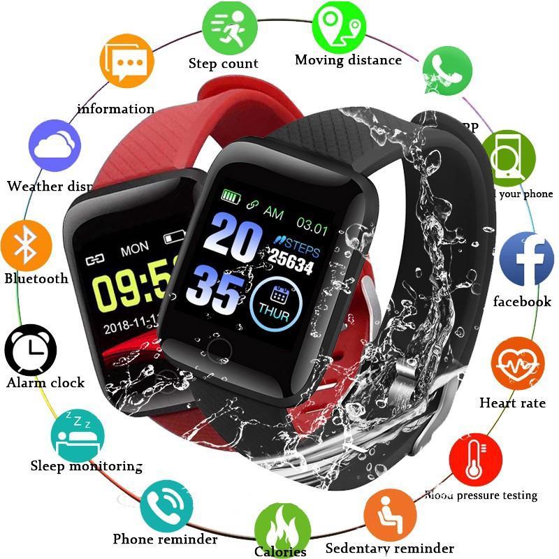 116 mais relógios inteligentes homens ip67 ip67 À prova d'água REAL Monitor de frequência cardíaca mulheres smartwatch para Android iOS