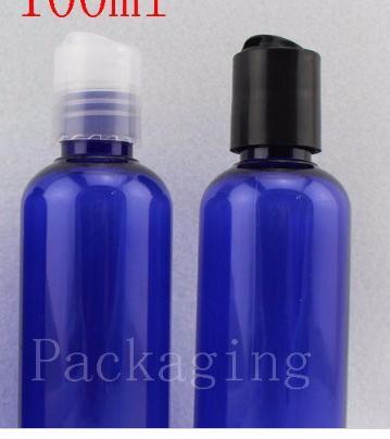100 ml X 50 lotion shampooing bleu bouteilles en plastique, des bouteilles de déplacement de savon liquide à vide 100 g d'emballage cosmétique
