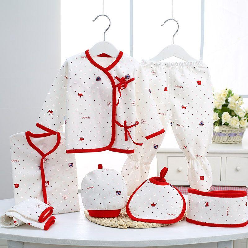 0-3 Mois Vêtements pour bébés Set coton nouveau-nés garçons Vêtements Sous-vêtements pour les filles Imprimer New Born Baby fille costumes 7pcs / set