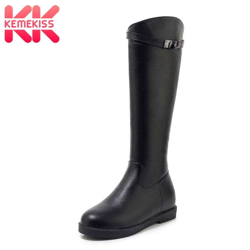 KemeKiss Mulheres Pu joelho couro de alta Botas Rodada Toe Zipper Inverno sapatos de mulher Retro Simples Cavaleiro botas calçado de tamanho 32-43