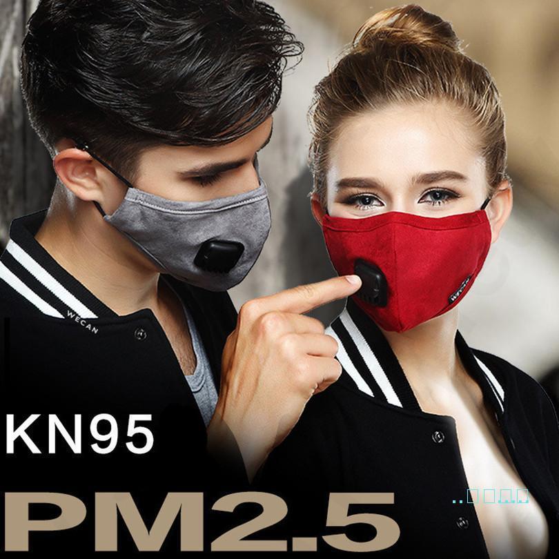 Gamuza PM2,5 Hombres Mujeres Tela cara de la válvula del respiradero con 2 filtros de máscaras a prueba de polvo del polvo anti boca de algodón de protección D32705 Máscara
