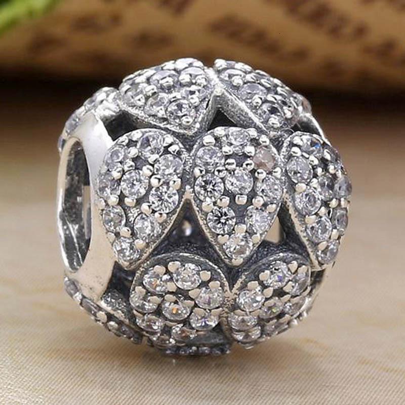 Joyería original a cielo abierto en forma de lágrima en cascada del encanto con cristal apta del encanto de 925 Sterling Silver Charm Pandora pulsera DIY