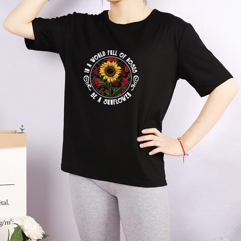 Женская DIY Футболка Женской мода Подсолнечного Letters Printed Рубашка дышащих вскользь Женщины пользовательского Tops Tee 3 цвета Плюс Размер M-4XL A760