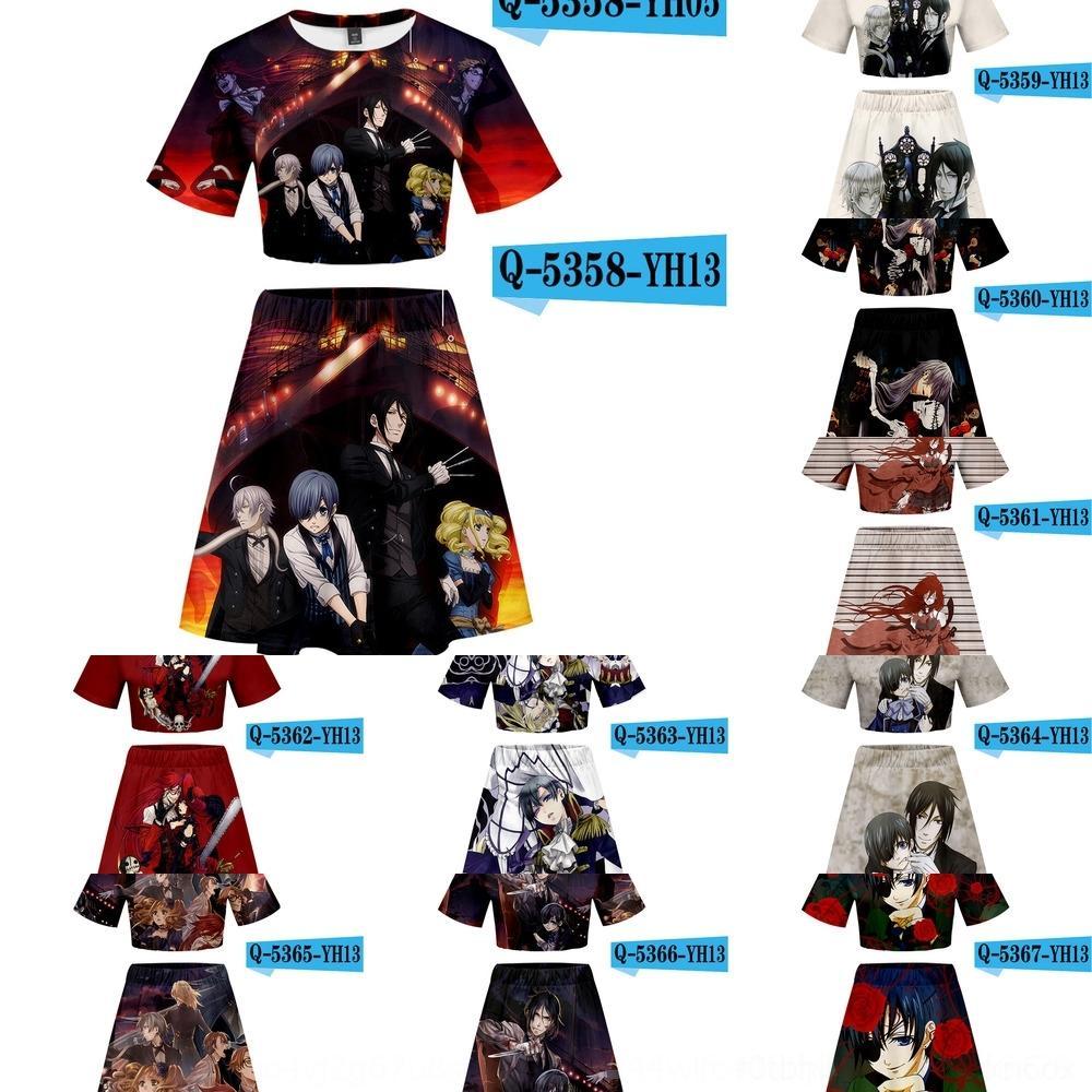 Nouveau costume jupe courte VPhTD anime japonais impression Butler3D T-shirt noir numérique jupe courte numérique nombril T-shirt