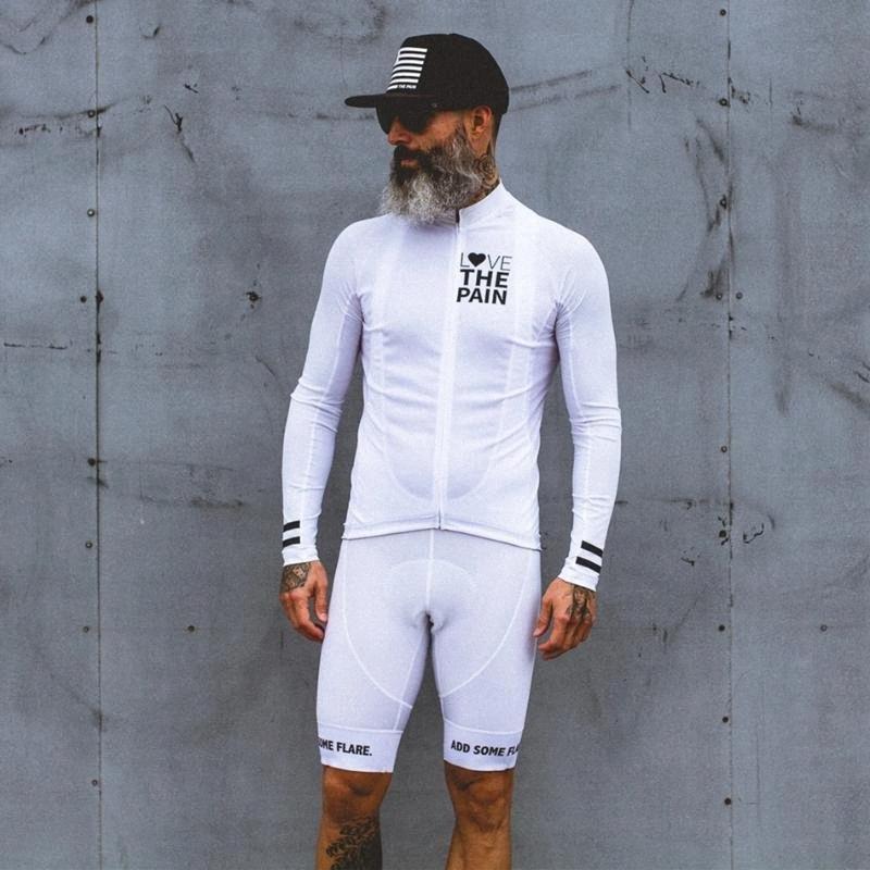 Amour La douleur costume blanc Cyclisme Jersey USA vêtements équipe Ciclismo 2020 hommes Chemise à cuissard manches vélo de route costume tri VTT Ayik #
