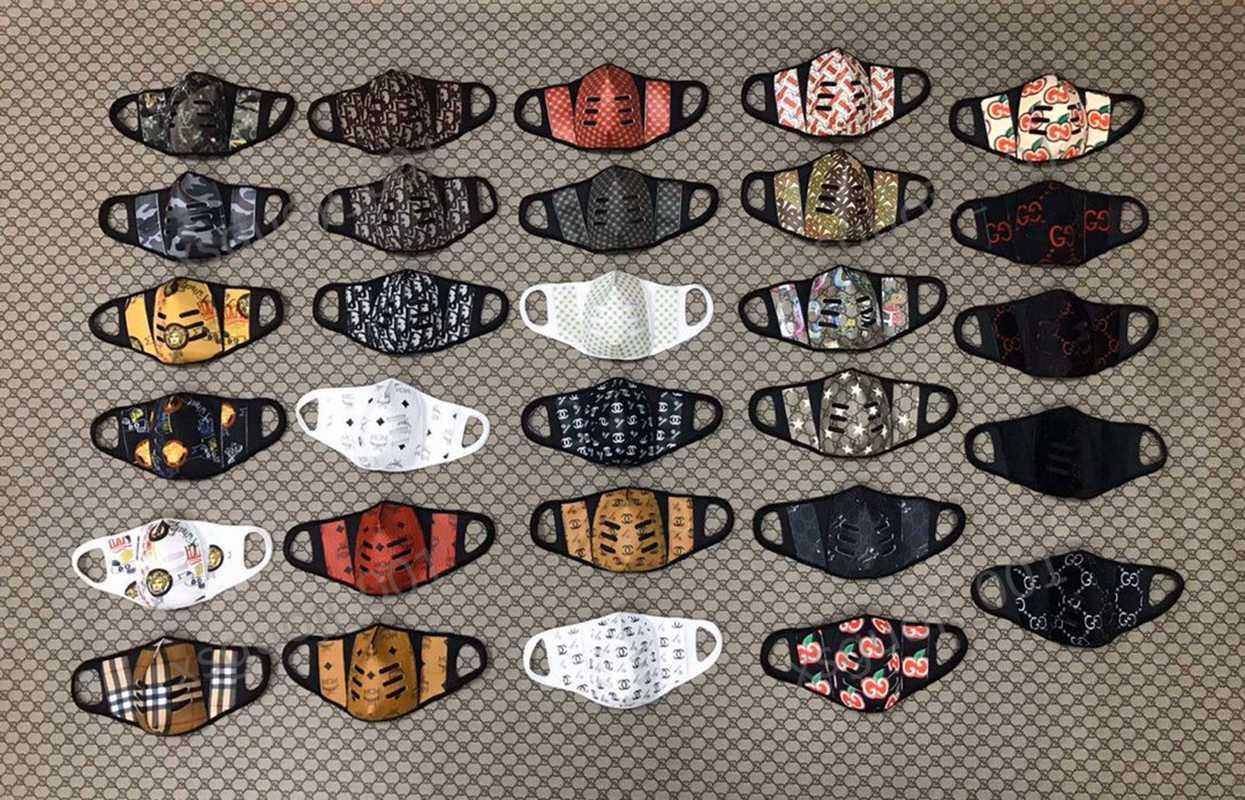 Dior mask Máscara reutilizáveis Rosto com a respiração Aspirador Válvula várias cores mutável Filtro Pads Máscara Dustproof pano de protecção com Retail