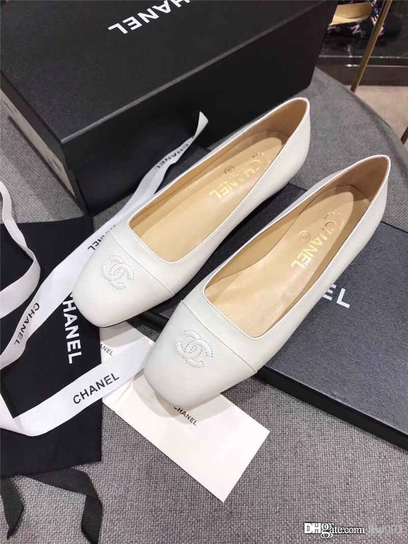 Üst lüks tasarımcı ayakkabı moda vahşi dikiş Yaz sonbahar kadın, basit ve rahat terlik deri deri ayakkabı tek ayakkabı