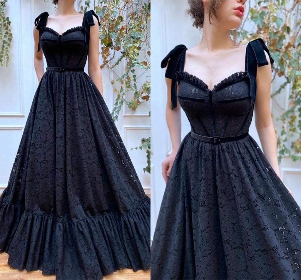 O partido do laço preto encantador Prom Vestidos de cintura império Designer Sweetheart A linha de vestido de noite Wear baratos Pageant Evening vestidos de vestes de soiré