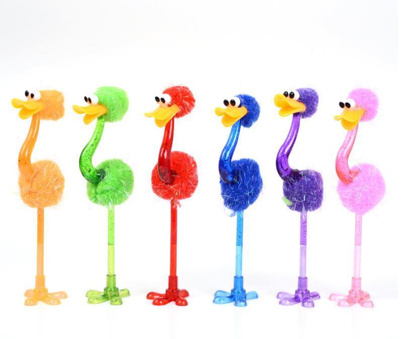 Забавный страус Шариковая ручка Студент Канцелярские Творческий мультфильм игрушки Ручки Офис Школа Pen Дети Лучшие подарки SN1465