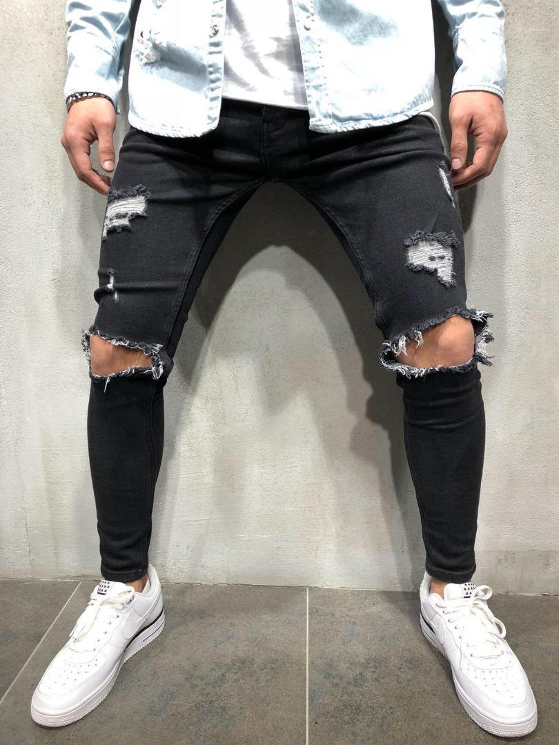 Mens Slim Fit Teenager Boy Hiphop Ripped Jean Hosen Hallo Straße Skateboard Holes Designer Jeans