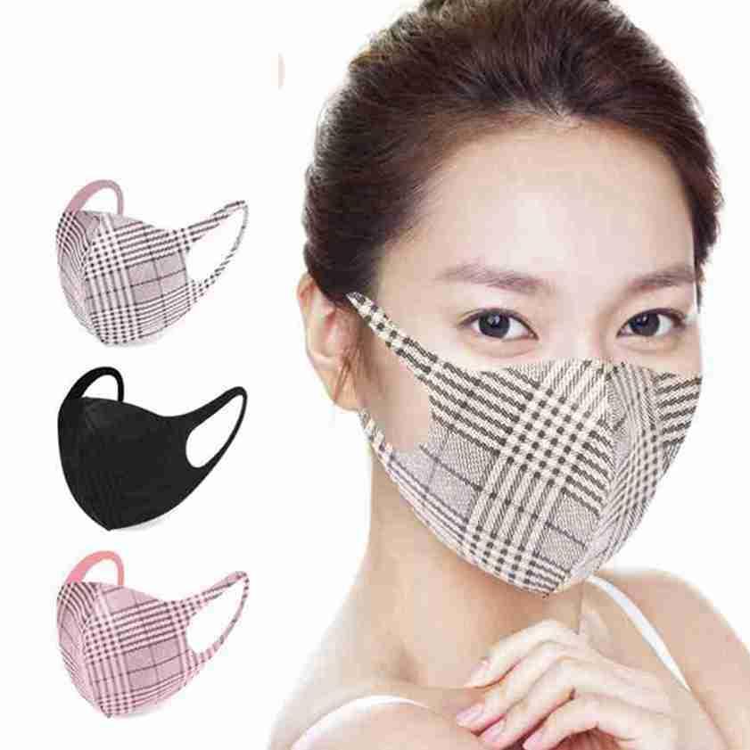 4 estilos Máscaras tela escocesa Cara unisex transpirable Boca máscara protectora lavable reutilizable Mascarillas Diseñador CYZ2622
