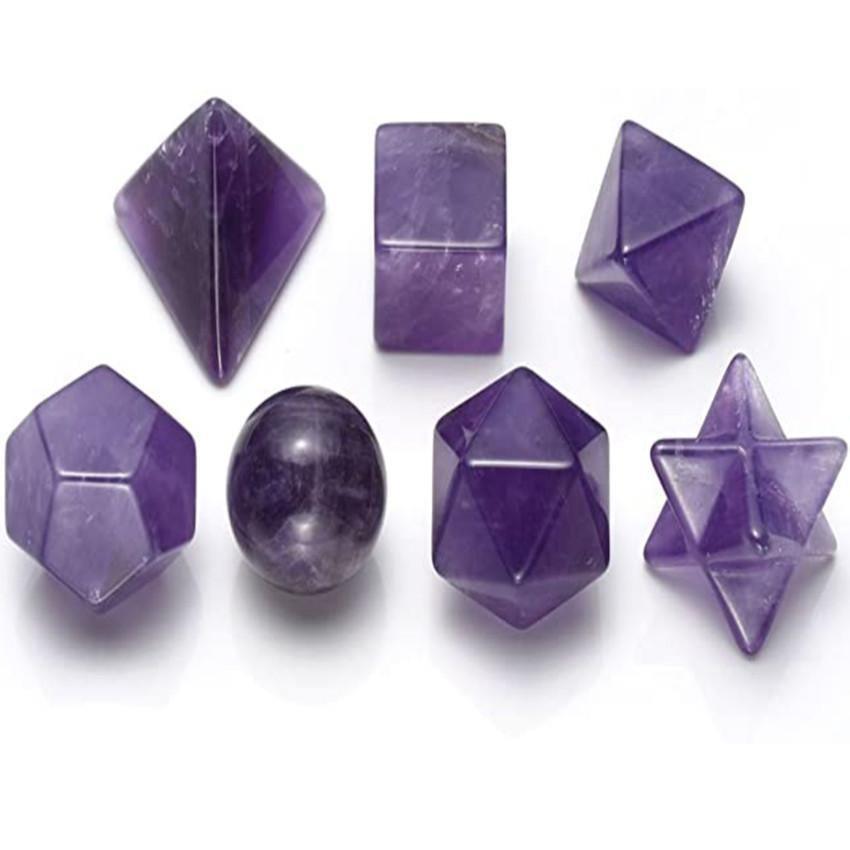 Al por mayor de 7 PC Forma geométrica de piedra amatista colgante símbolo Merkaba para regalo del partido Crystal Rock joyería