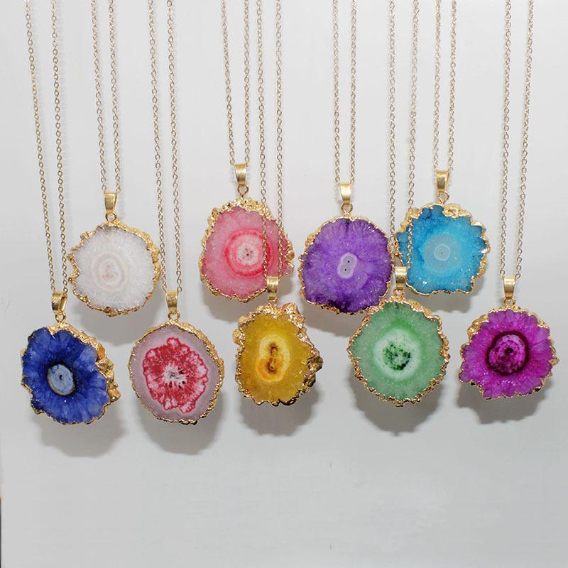 Vintage irregolare pietra naturale collana Pendent per la catena delle donne degli uomini di colore oro originale di pietra di cristallo delle collane del maglione Jewelry