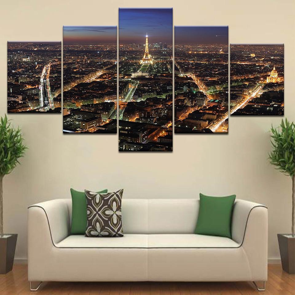 Home Decor Canvas Arte Moderna HD 5 Painel de Paris Tower Building Noite Cena modulares Posters Tableau parede fotos Pinturas