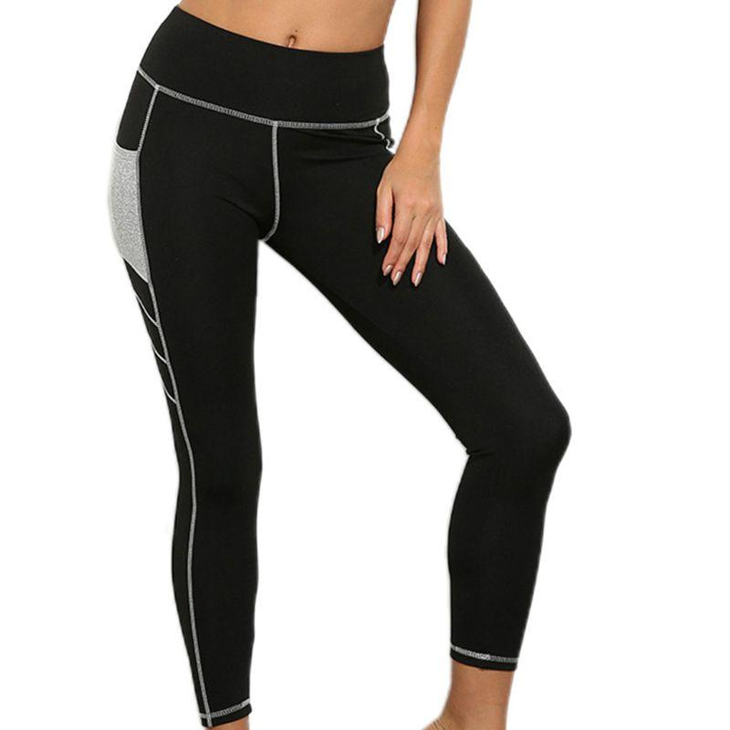 Yoga mujeres polainas de bolsillo de alta panza de la cintura de control del bloque del color Mallas para correr 24BD
