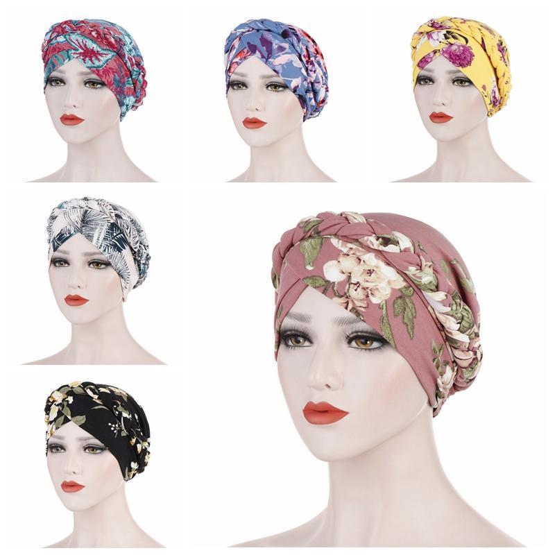 2020 della Boemia stampa musulmana turbante sciarpa per le donne islamiche del hijab tappi interni involucro arabo testa sciarpe femme musulman turbante Mujer
