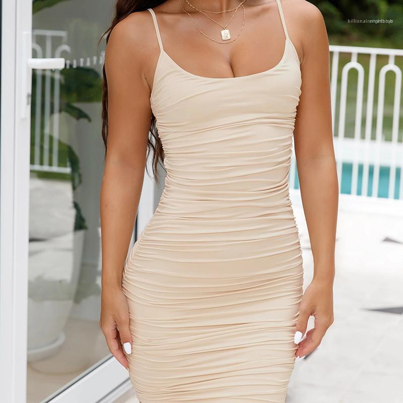 Bügel-beiläufige Kleid-reizvolle Art Damen Kleidung Sommer-Frauen Designer Bodycon Kleider Solid Color Backless Spaghetti