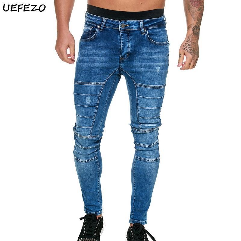 UEFEZO Washed Denim Men Calças justas hip hop jeans Streetwear dos retalhos azuis Jeans Pants Magro estiramento motociclista lápis calças