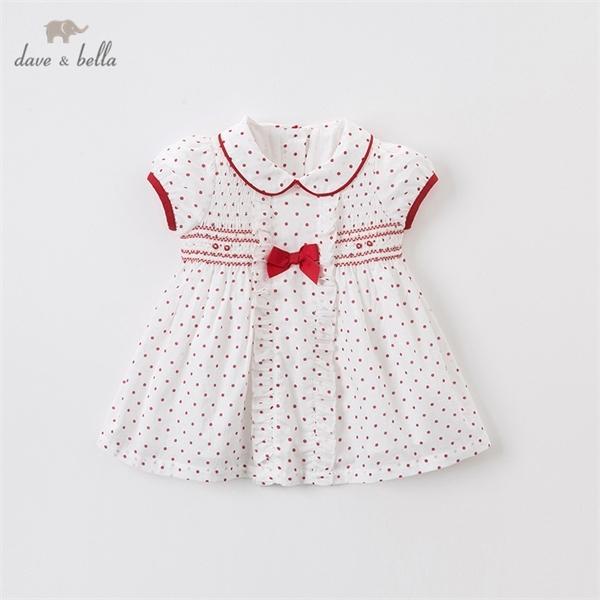 carino puntini arco DB13059 Dave estate bella neonata increspato abiti lolita del partito dei bambini vestito da modo bambini vestito infantile 0926
