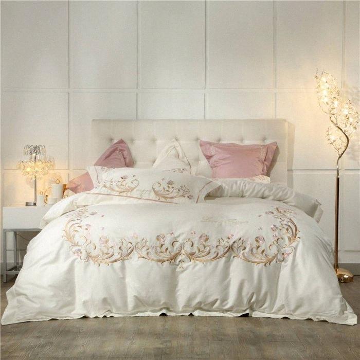 Крем Цвет 60S Египетский Coon Комплект постельных принадлежностей Цветы Вышивка простыня наволочка пододеяльник Комплект постельного Одеяло Постельное бельё zBpc #